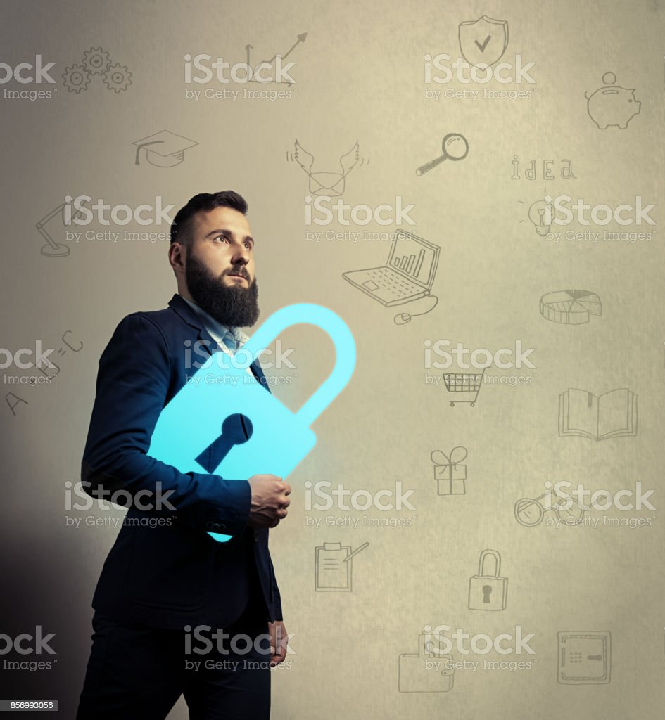 Bearded man with lock icon stock photo