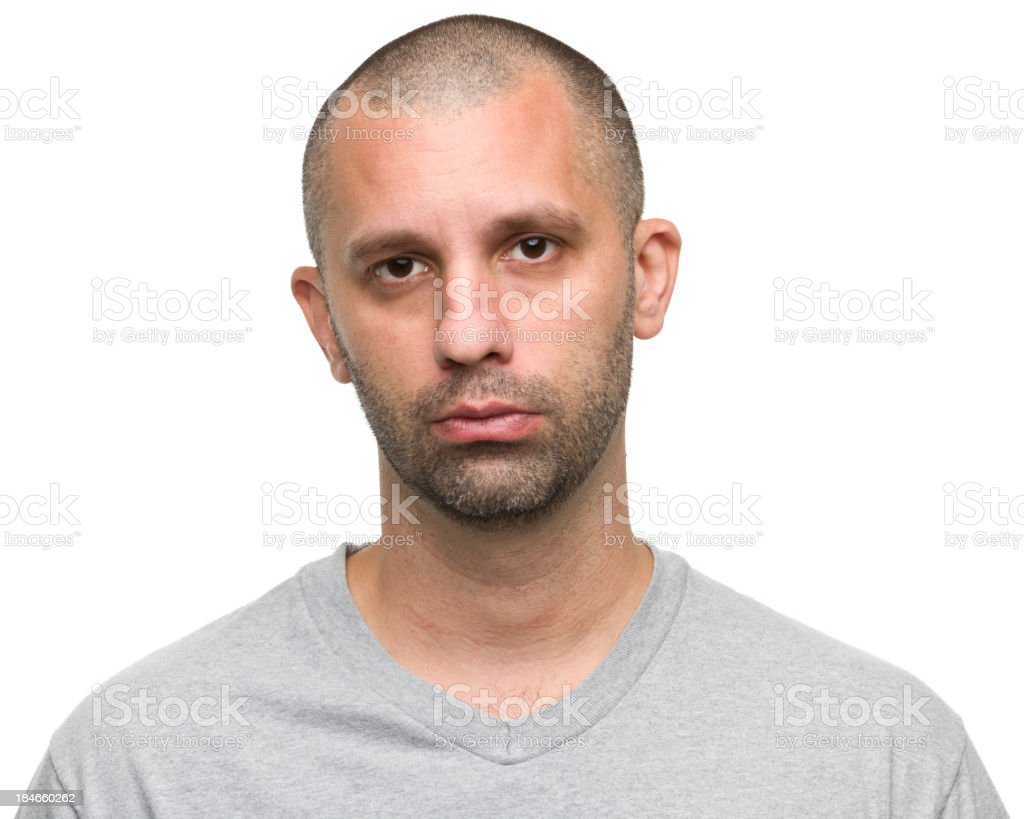 Bearded men with grey shirt on white background royalty-free stock photo