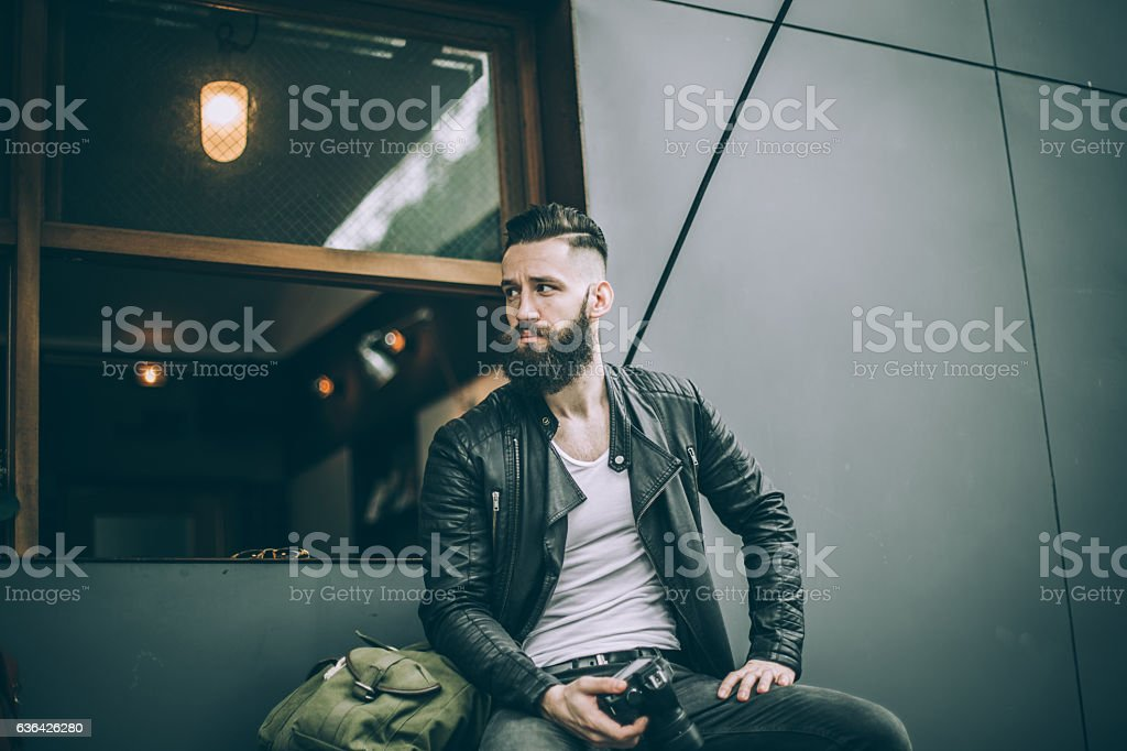 Bearded photographer stock photo
