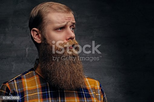 istock Bearded redhead male in a yellow shirt. 923629932