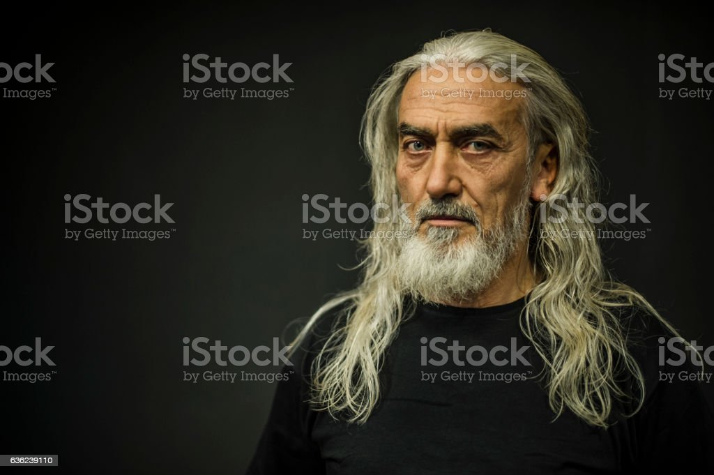 Bearded Senior Man Portrait, Age:55 - foto de stock