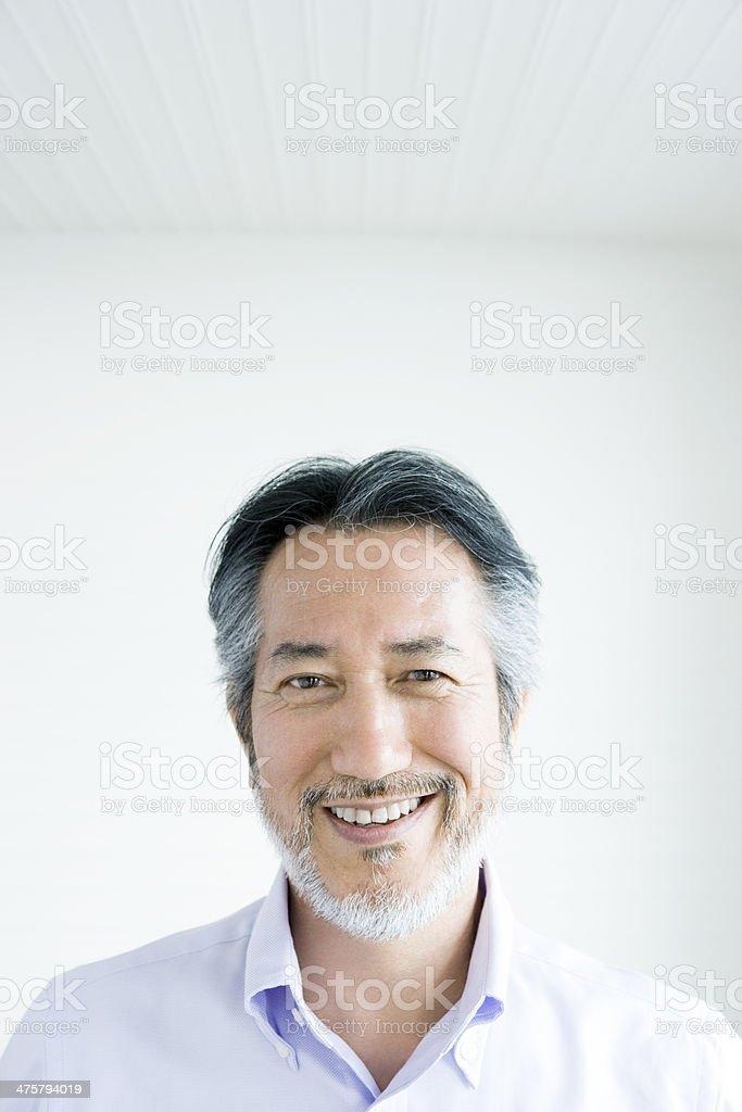 Bearded smiling man stock photo