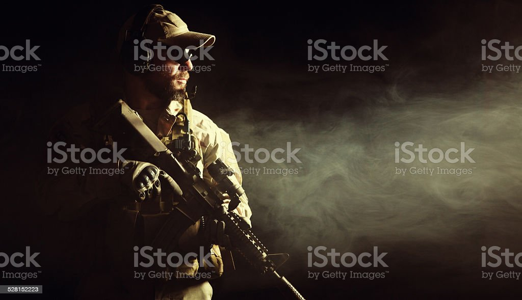 Bearded special forces soldier stock photo
