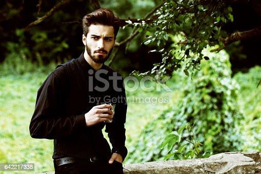 istock Bearded stylish man posing outdoors 642217338