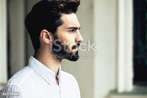 istock Bearded stylish man posing outdoors 642276104