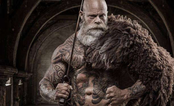 bärtige tätowiert wikinger krieger könig vor krieger hort und hintergrund - filmplakate stock-fotos und bilder