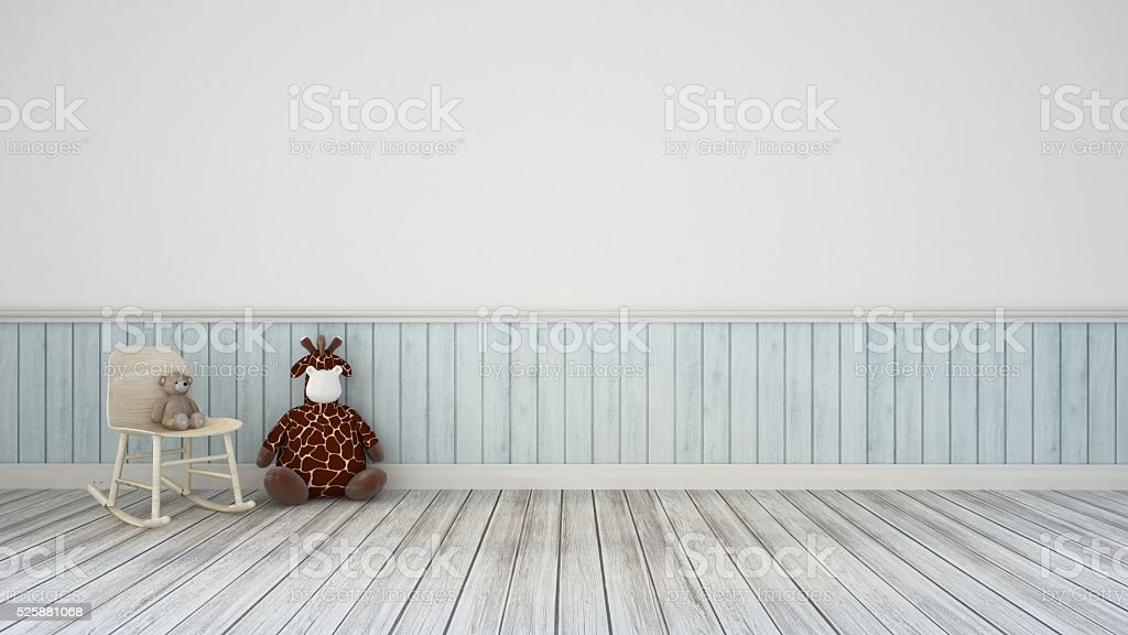 Bear-Doll in kid room and wall decoration-Interior design 3d rendering stock photo