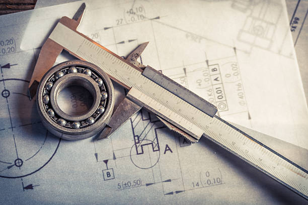 Bearing mechanical, caliper and diagrams stock photo