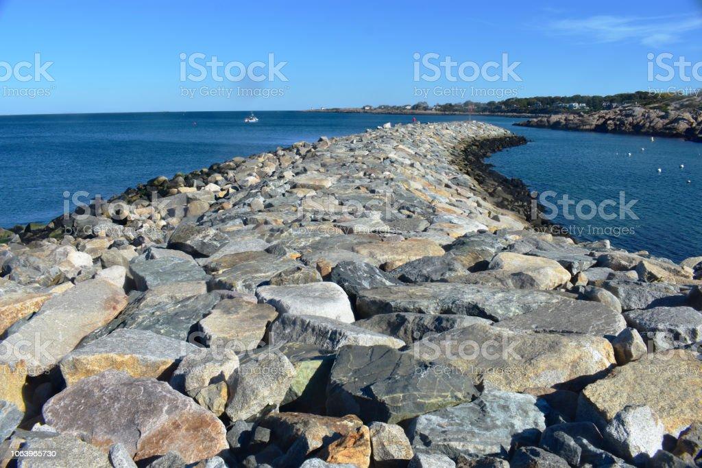 Bearskin Neck jetty, Rockport Massachusetts, USA (1) stock photo