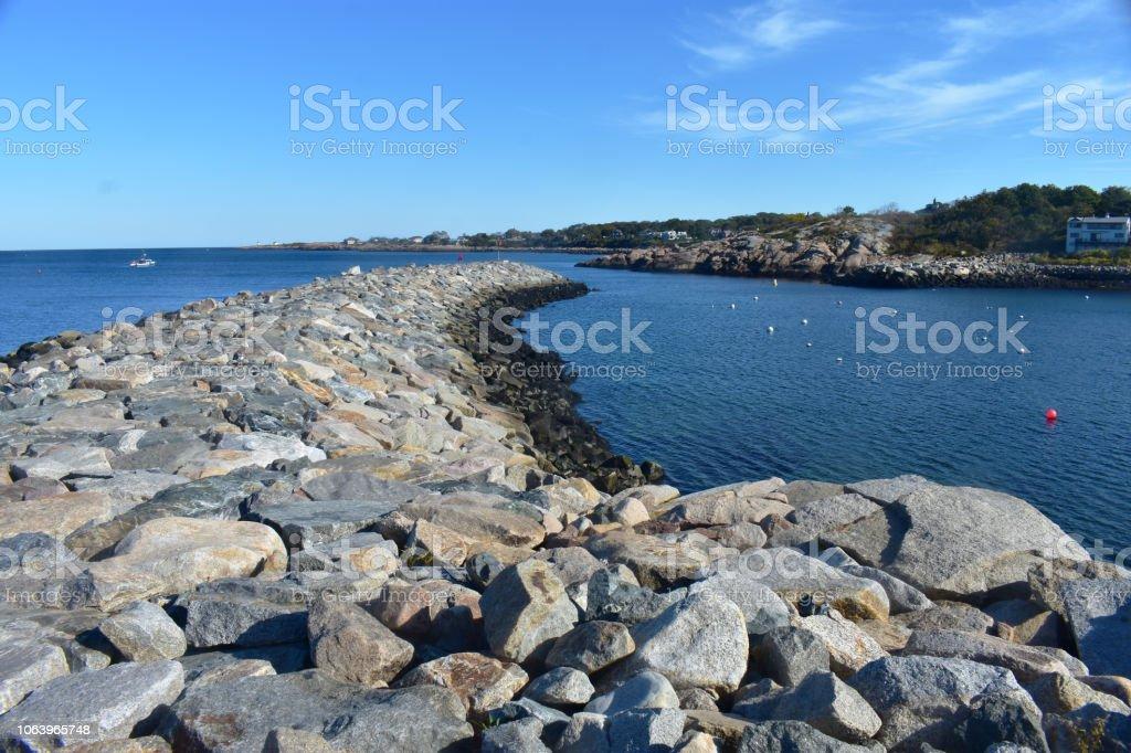 Bearskin Neck jetty, Rockport Massachusetts, USA (2) stock photo