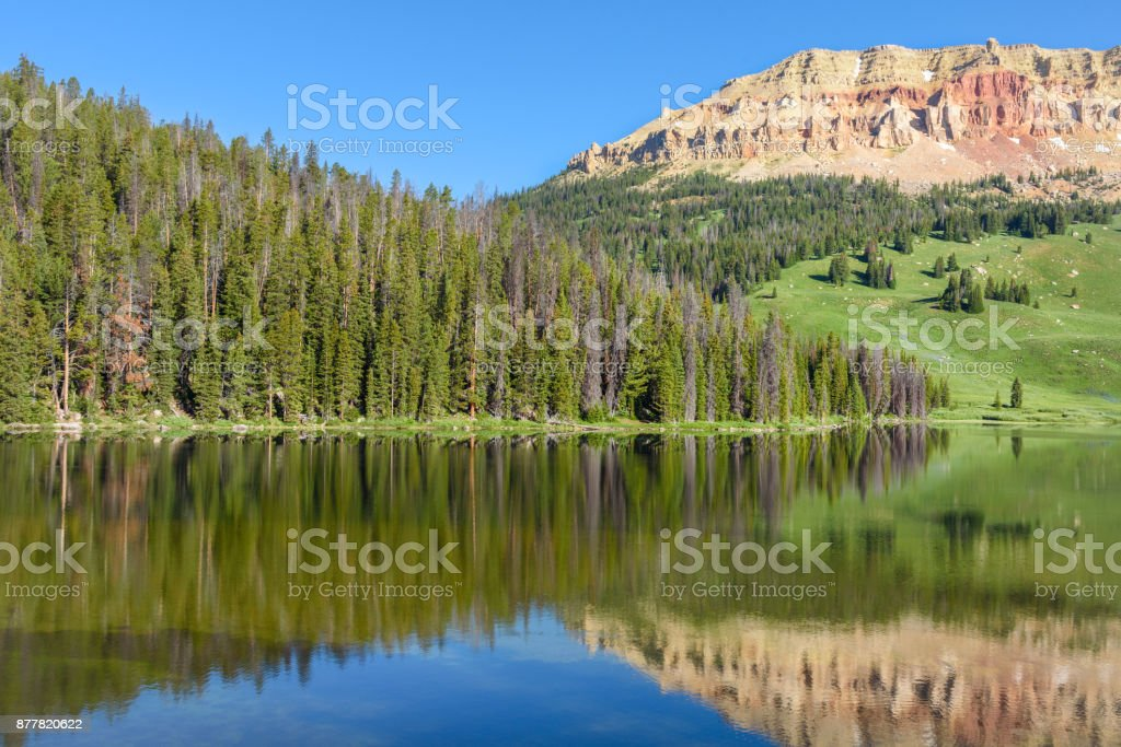 Beartooth Butte mountain and Bear Lake in Yellowstone Park, USA stock photo