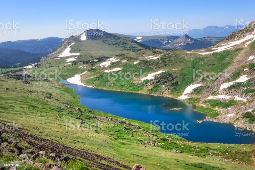 Beartooth Pass - Gardner Lake. Peaks of Beartooth Mountains, Shoshone National Forest, Wyoming, USA. stock photo