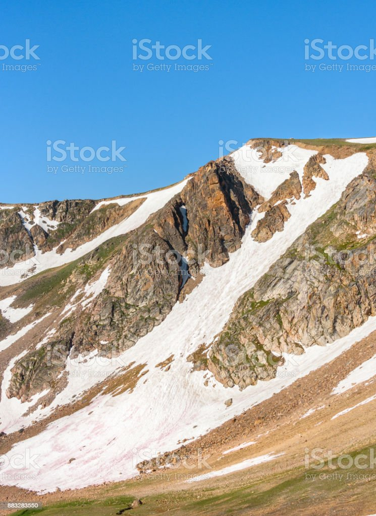 Beartooth Pass. Peaks of Beartooth Mountains, Wyoming, USA. stock photo