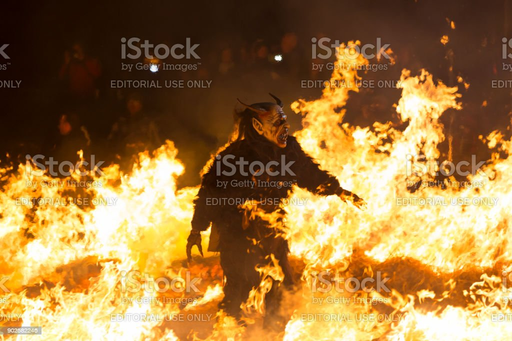Beast on fire, Krampus show, Tarvisio stock photo