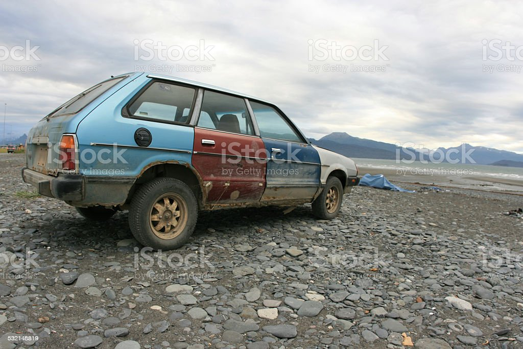 Beat Up Car stock photo