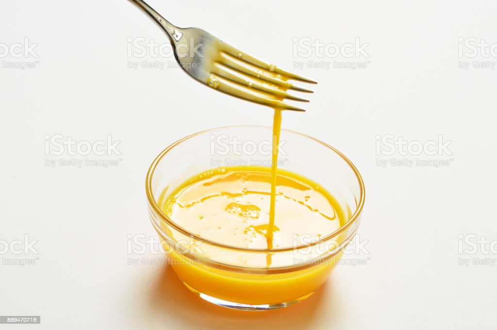 Beaten Eggs with Fork stock photo