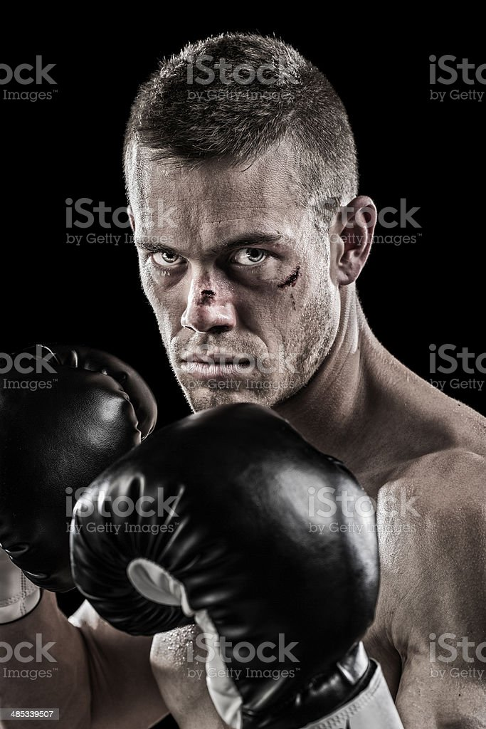 Beaten up boxer stock photo