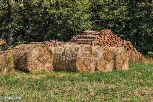 istock Beaten wood and hay bales 1174471846