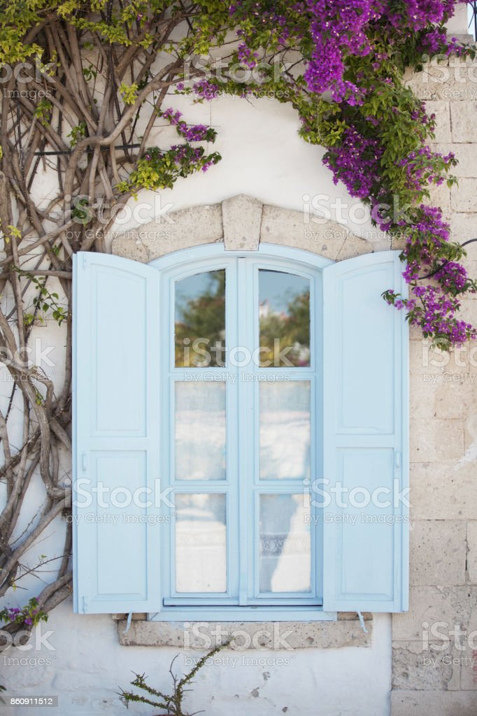 Beatiful blue Window of a Traditional Houses in  Turkey stock photo
