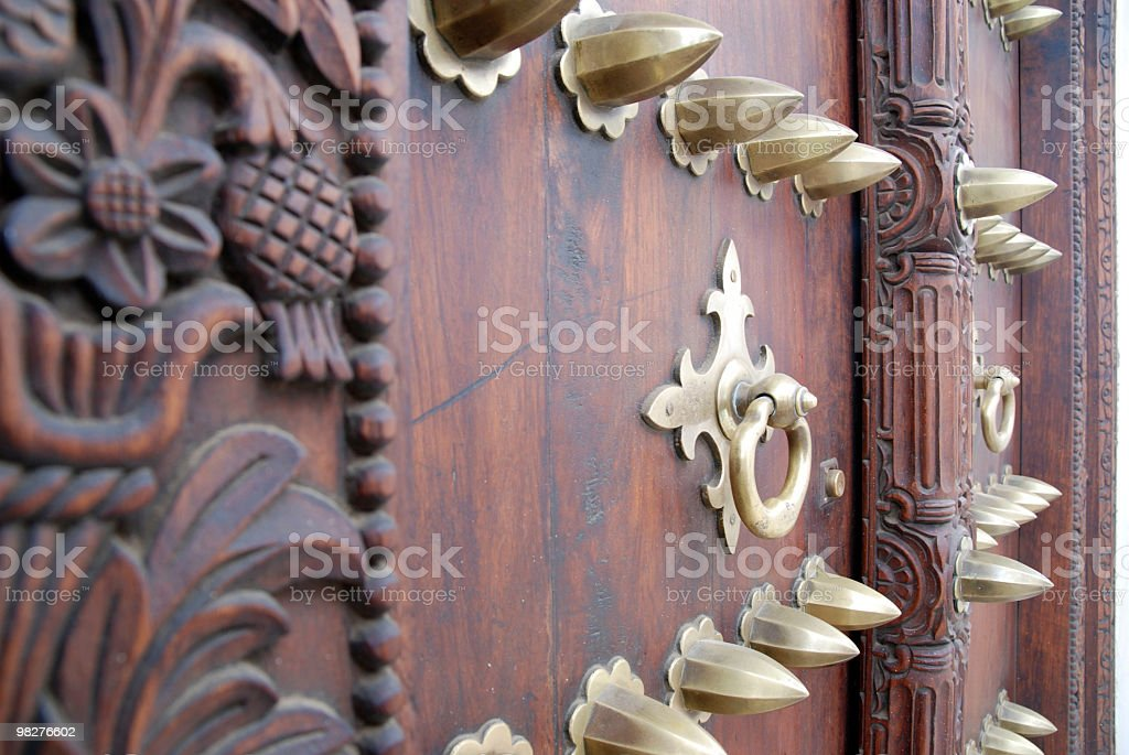 beatiful detail from anciant zanzibar door royalty-free stock photo