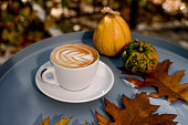 istock Beatiful sunny moment was captured there. Tasty cappuccino , autumn leaves, pumpkins. Feel the fall! 1179635083