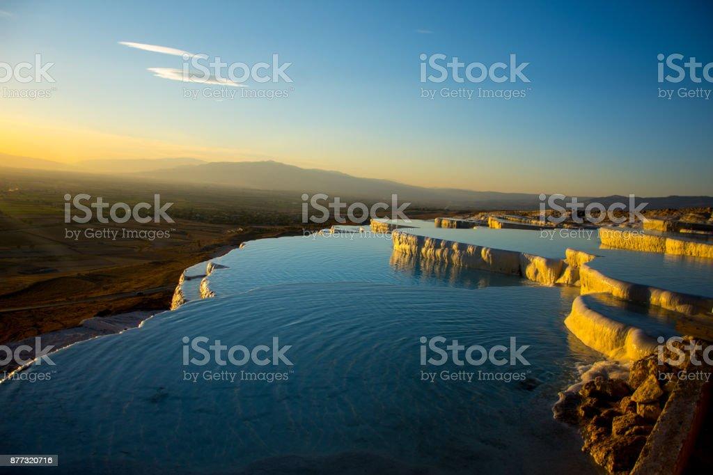 Beatiful sunset in Pamukkale valley stock photo