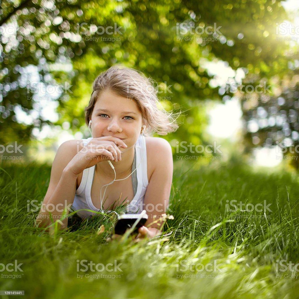 Beatiful Teenage Girl in the Park stock photo