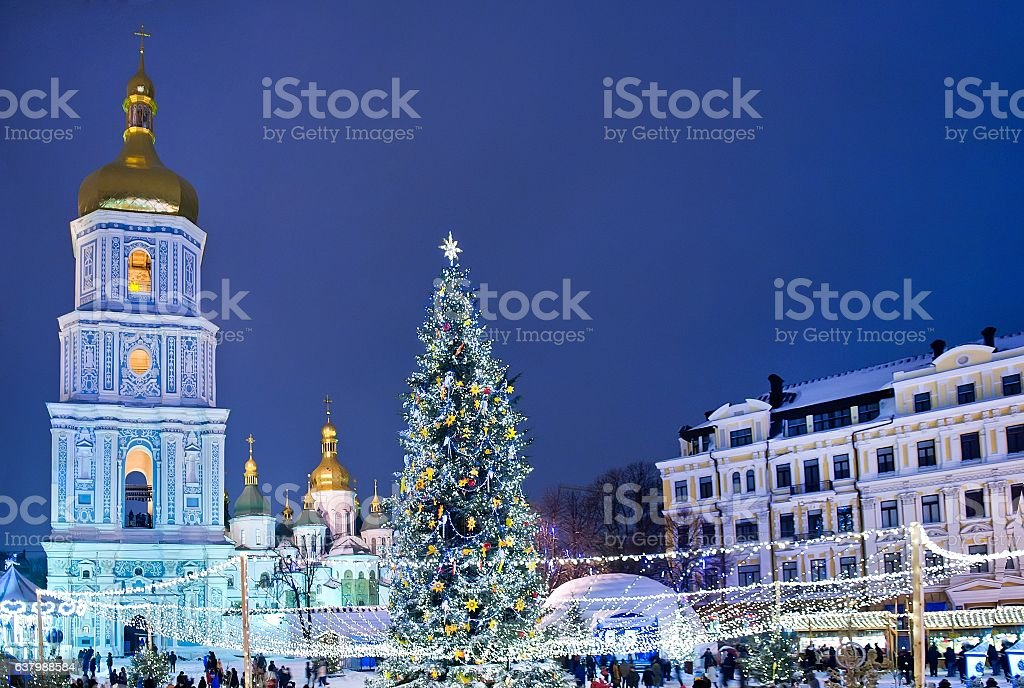 Beatiful view of Christmas on Sophia Square in Kyiv, Ukraine. stock photo