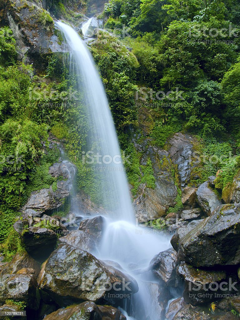 Beatiful waterfall the seven sisters in Sikkim, India stock photo
