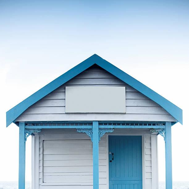 beatiful wooden house on the beach stock photo