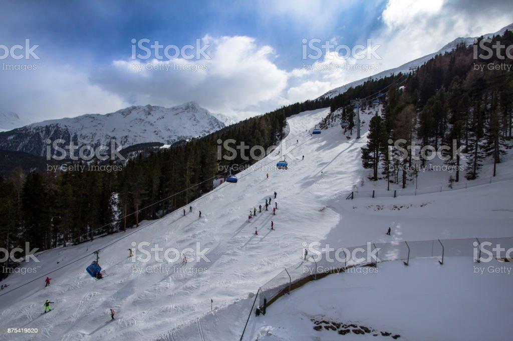 Beatifull slope in the Alps stock photo