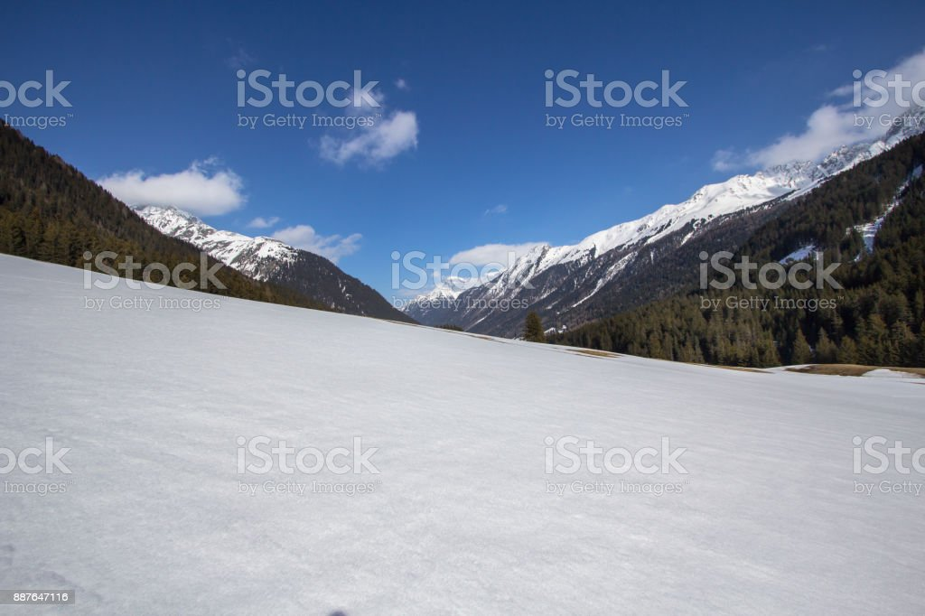 Beatifull slope in the Alps stock photo