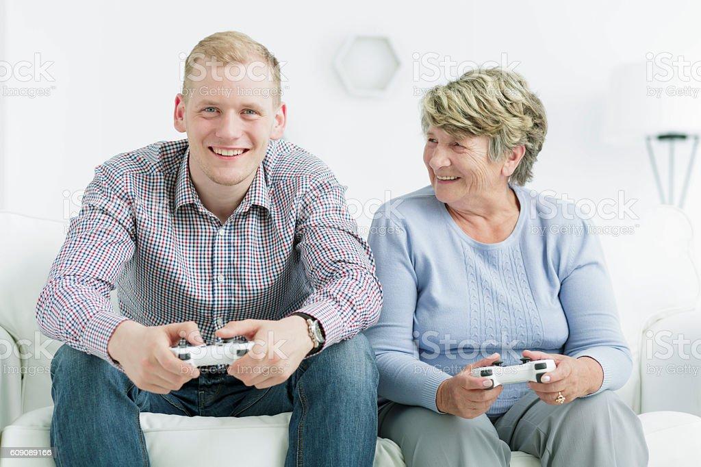 Beating her grandson stock photo