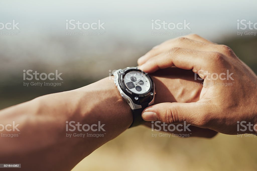Beating his personal best stock photo