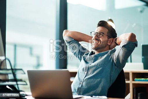 istock Beating the deadline like the champ he is 874811654