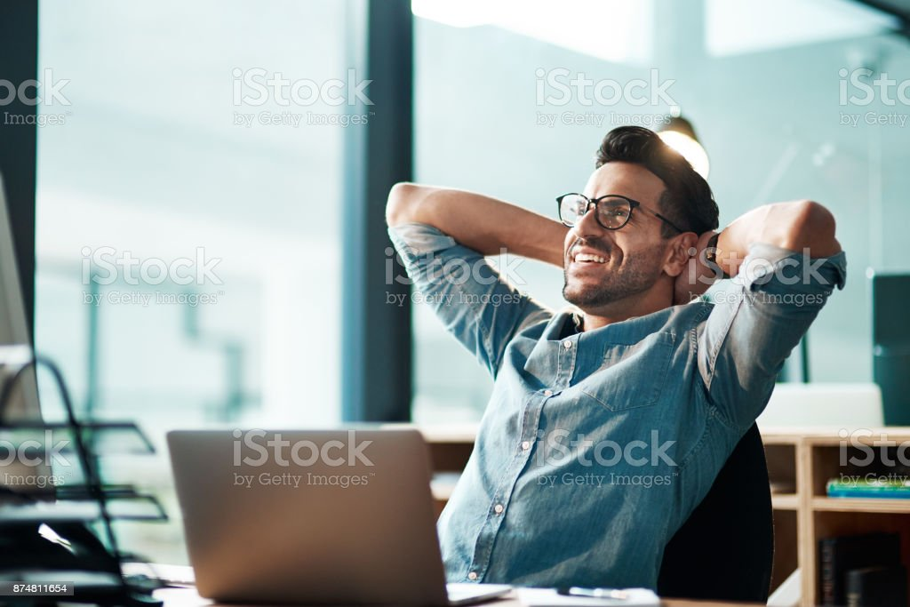 Beating the deadline like the champ he is stock photo