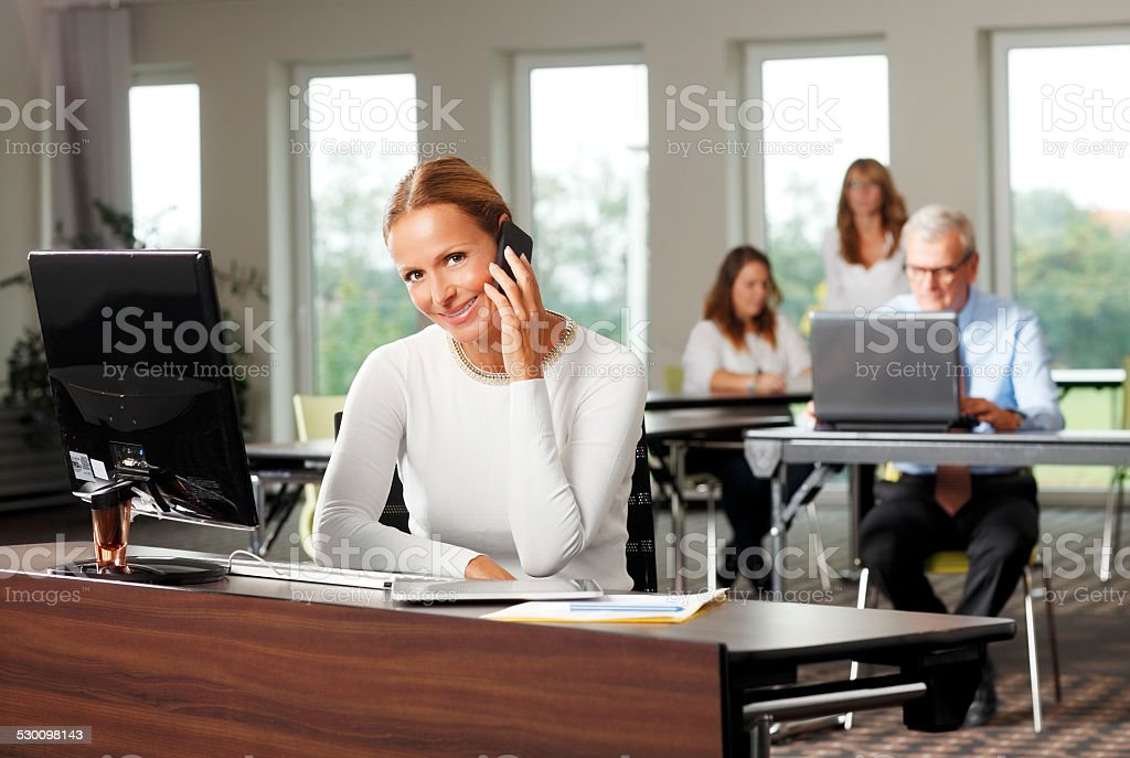 Beatuiful business woman stock photo