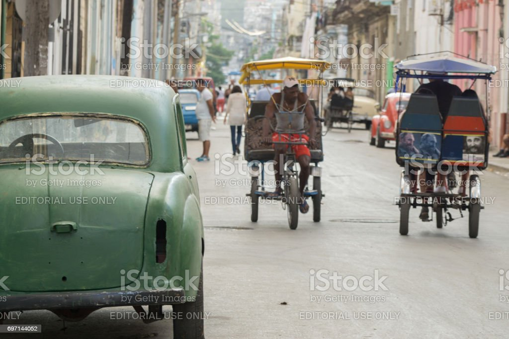 Beatup Vintage Car Parked On Havana Street Stock Photo
