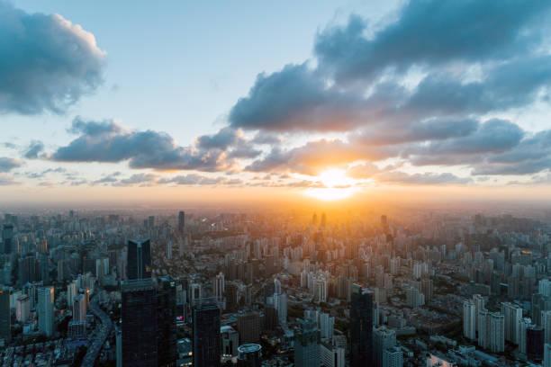 Beauitful shanghai Skyline der Stadt im Sonnenuntergang – Foto