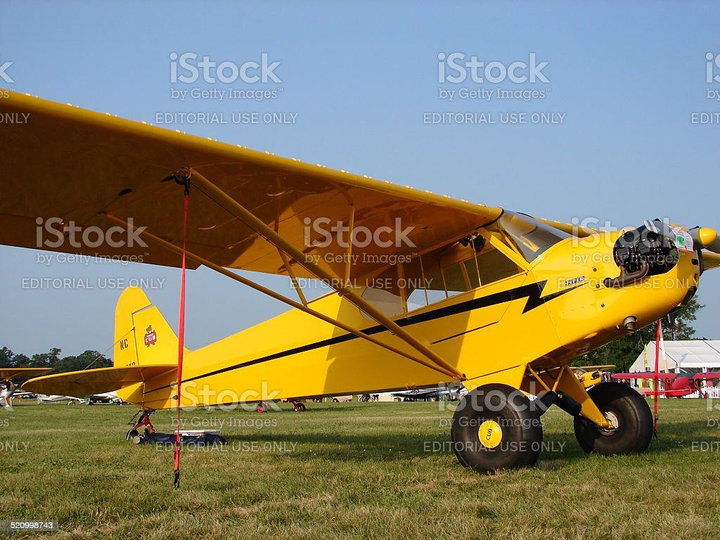 Beauliful classic Piper J3 Cub with oversized Alaska tires. stock photo