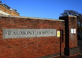 The entrance to Beaumont Hospital on Beaumont Rd in Dublin's Northside, Ireland.