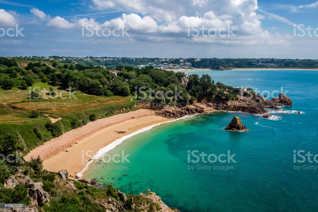 Beauport Beach, St Aubin, Jersey, Channel Islands stock photo