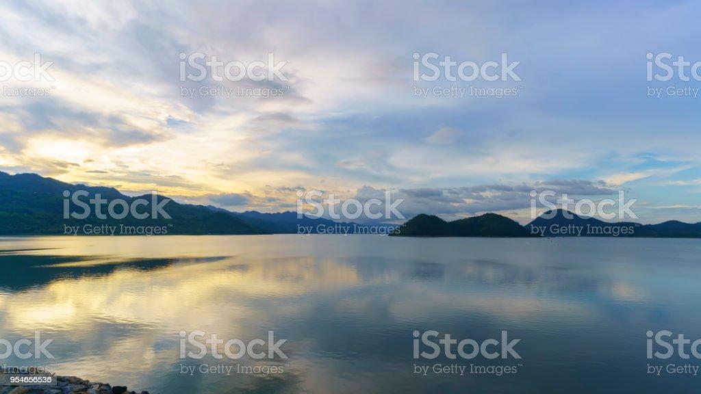Beauriful scenery of Srinagarind Reservoir or Srinakharin dam with reflection , Kanchanaburi , Thailand stock photo