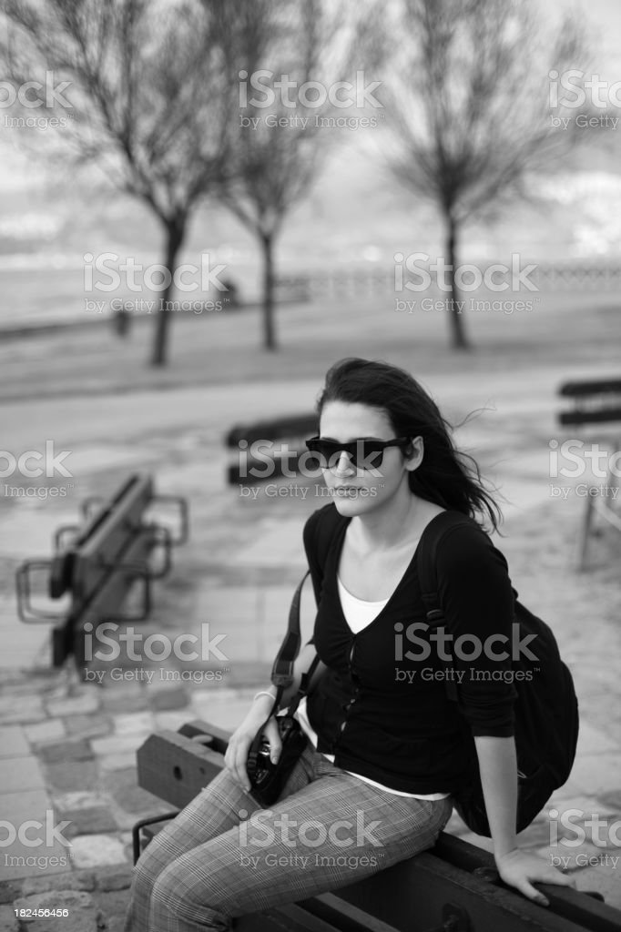 Beautful Female with a SLR Camera royalty-free stock photo