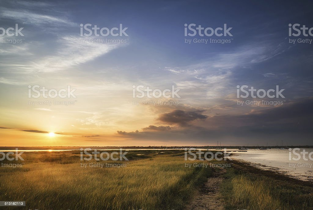 Beautful Summer evening landscape over wetlands and harbour stock photo