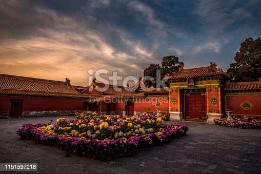 A peaceful garden scene with colorful flowers and magnificent architecture at the Forbidden City in Beijing