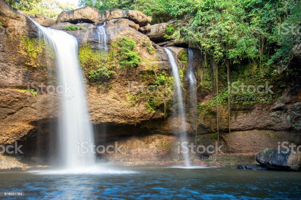 Beautifful waterfall , Haew Suwat Waterfall , in Khao Yai national park in Thailand stock photo