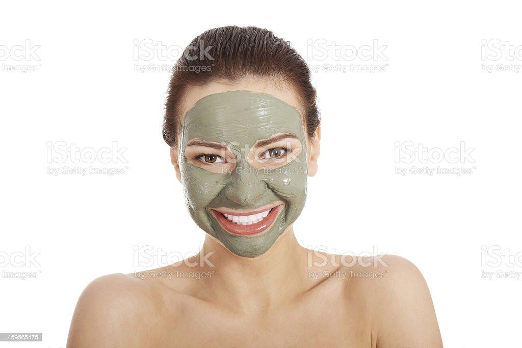Beautifu toplessl femme avec masque pour le visage. - Photo