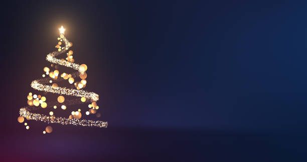 Beautiful Abstract Christmas Tree Made Of Bokeh And Glittering Particles - Elegant Blue Background, Copy Space stock photo