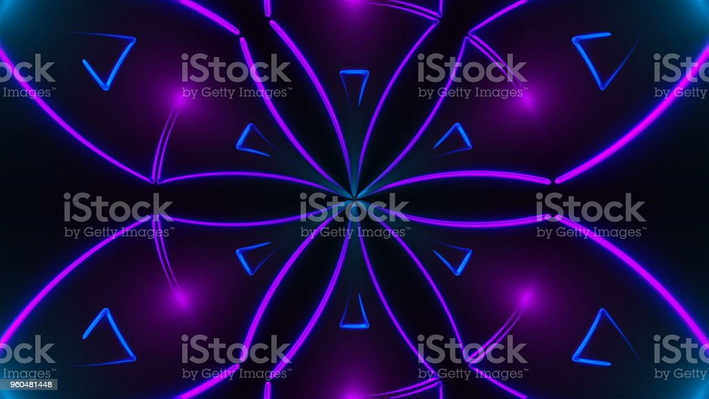 Beautiful abstract symmetry kaleidoscope with shiny neon lines, 3d render backdrop, computer generating background stock photo